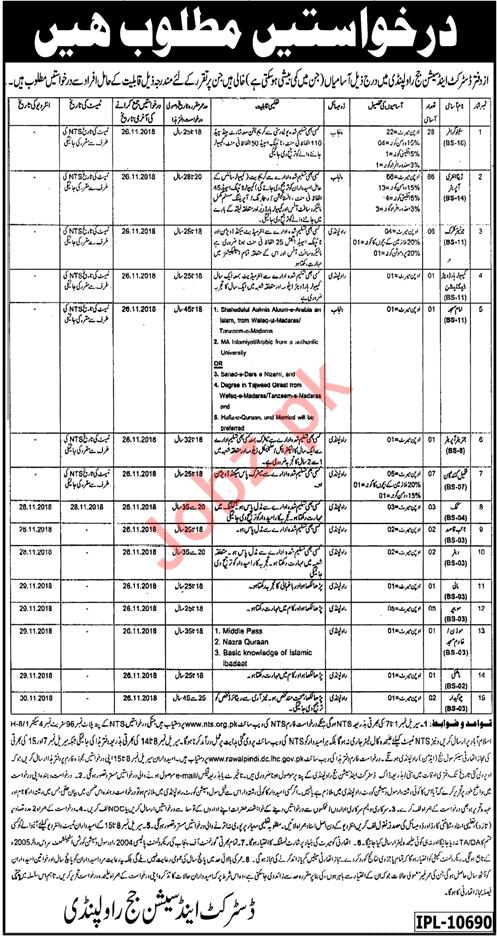 District & Session Judge Office Jobs 2018 in Rawalpindi