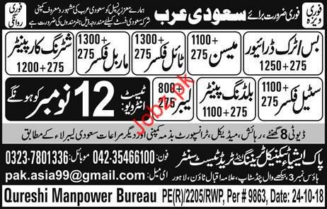 Mason Tile Fixer & Shuttering Carpenter Jobs in Saudi Arabia