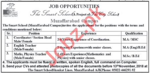 The Smart School Muzaffarabad Jobs Teachers & Coordinators