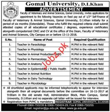 Gomal University Teaching Jobs 2018