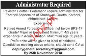 Administrator Jobs in Pakistan Football Federation