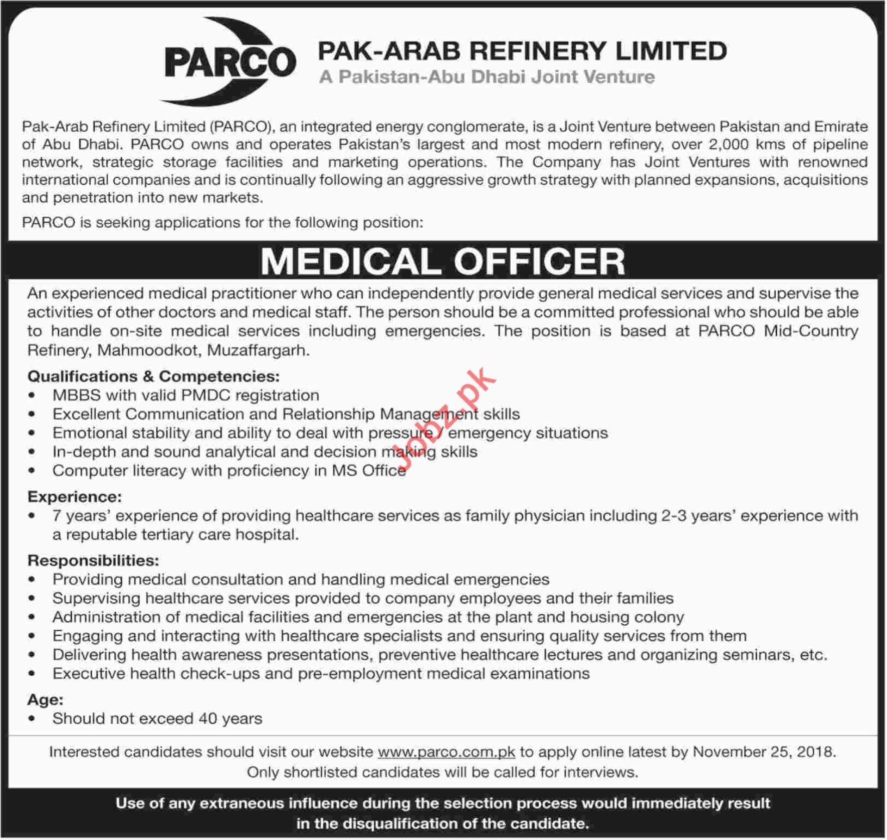 Medical Officer for PARCO