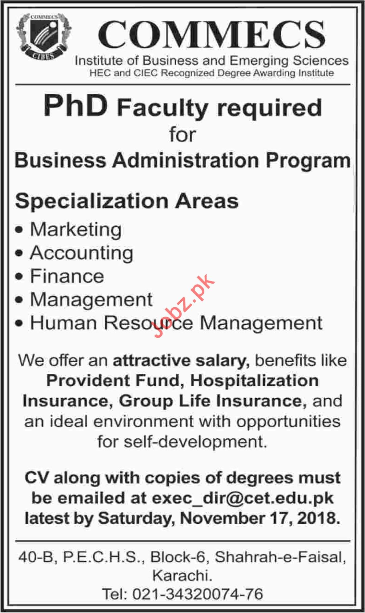 Commecs College PhD Faculty Required