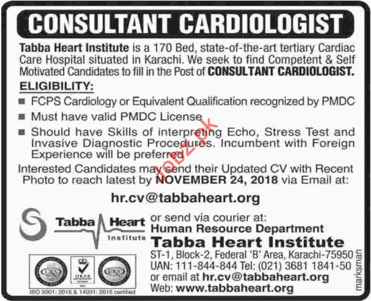 Tabba Heart Institute Consultant Cardiologist