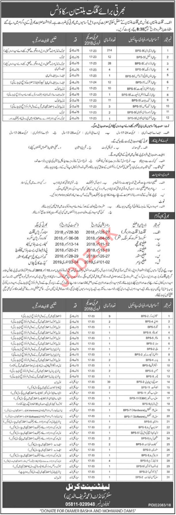 Gilgit Baltistan GB Scouts Soldiers Jobs 2018