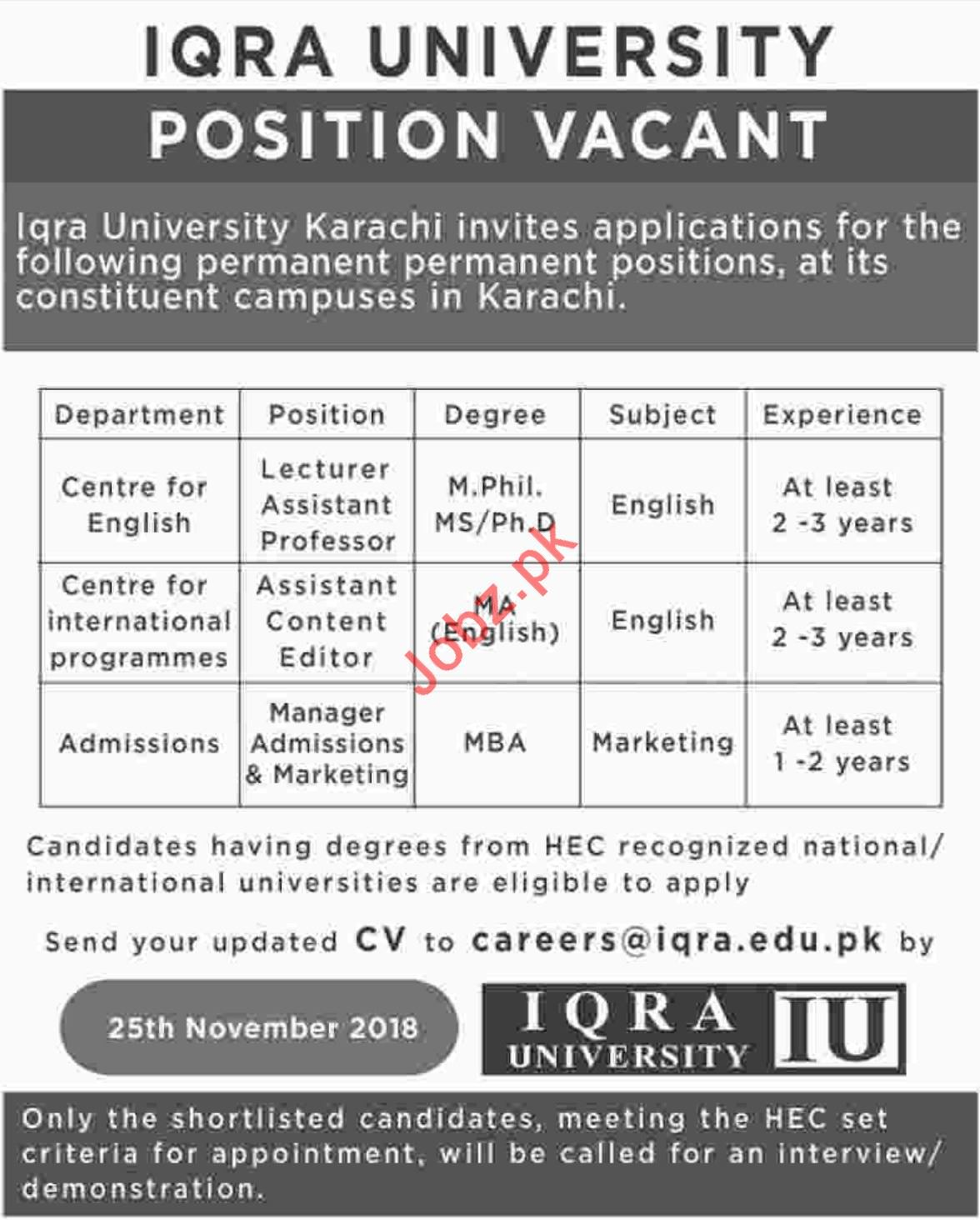 English Lecturer for Iqra University