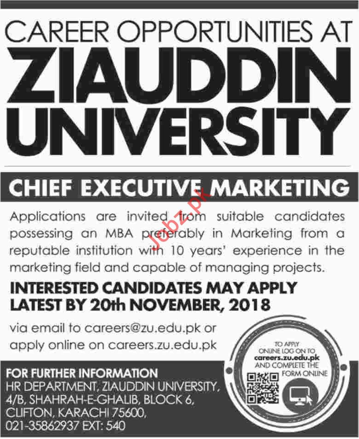 Chief Executive Marketing for Ziauddin University