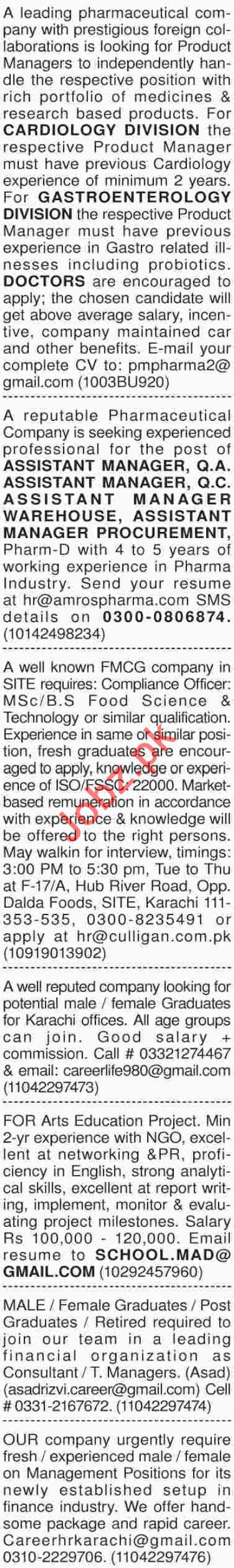 Daily Dawn Sunday Newspaper Classified Jobs 11 Nov 2018