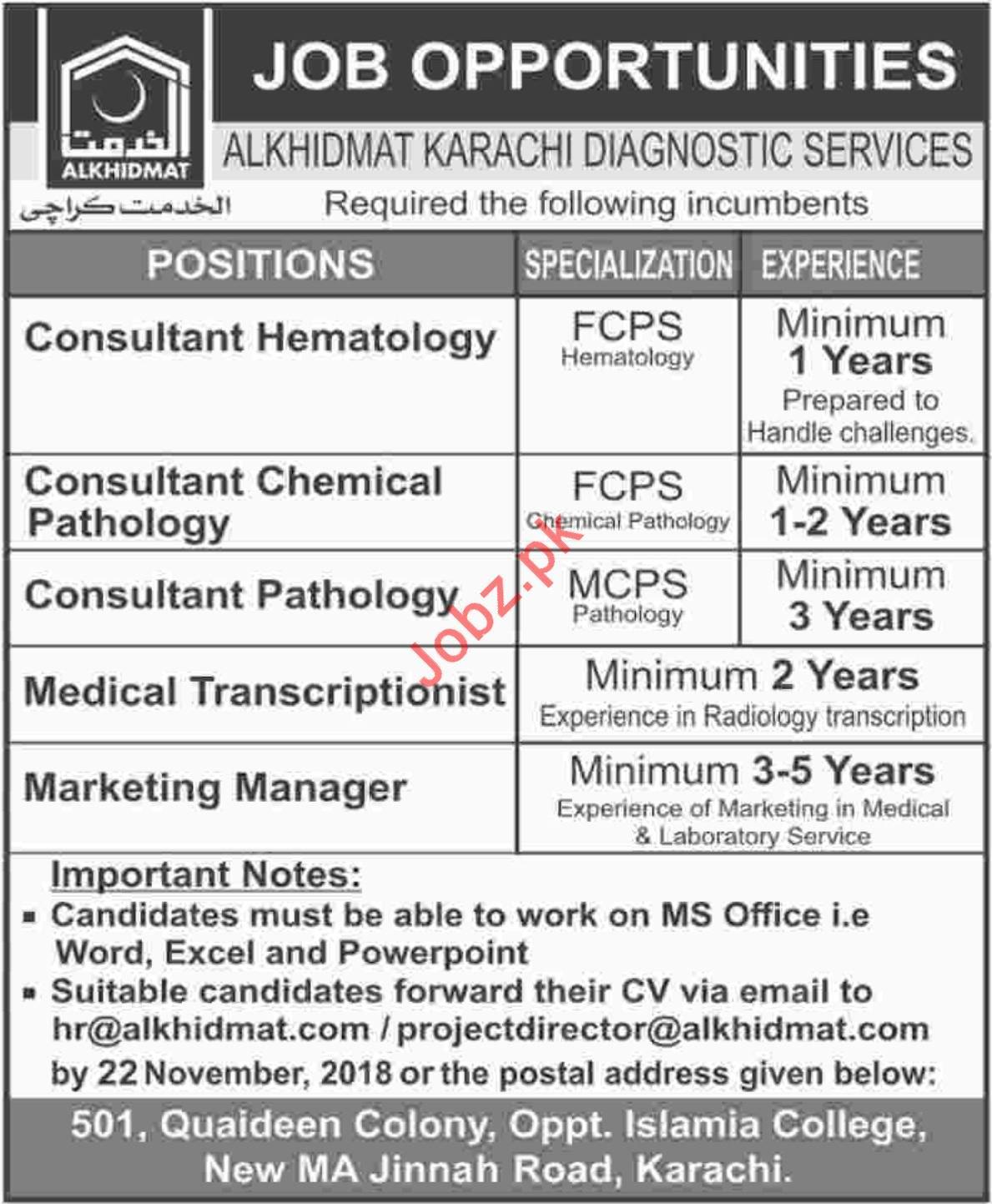 Alkhidmat Karachi Diagnostic Consultant Hematology Jobs