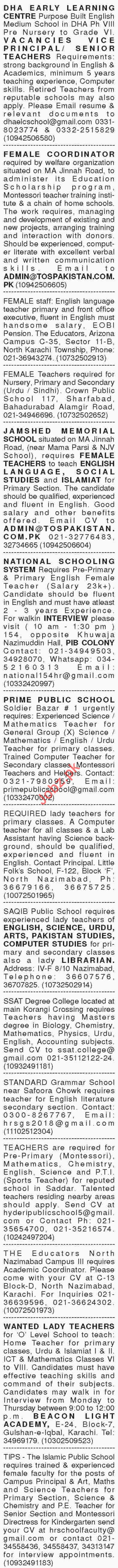 Dawn Sunday Newspaper Classified Teaching Jobs 2018