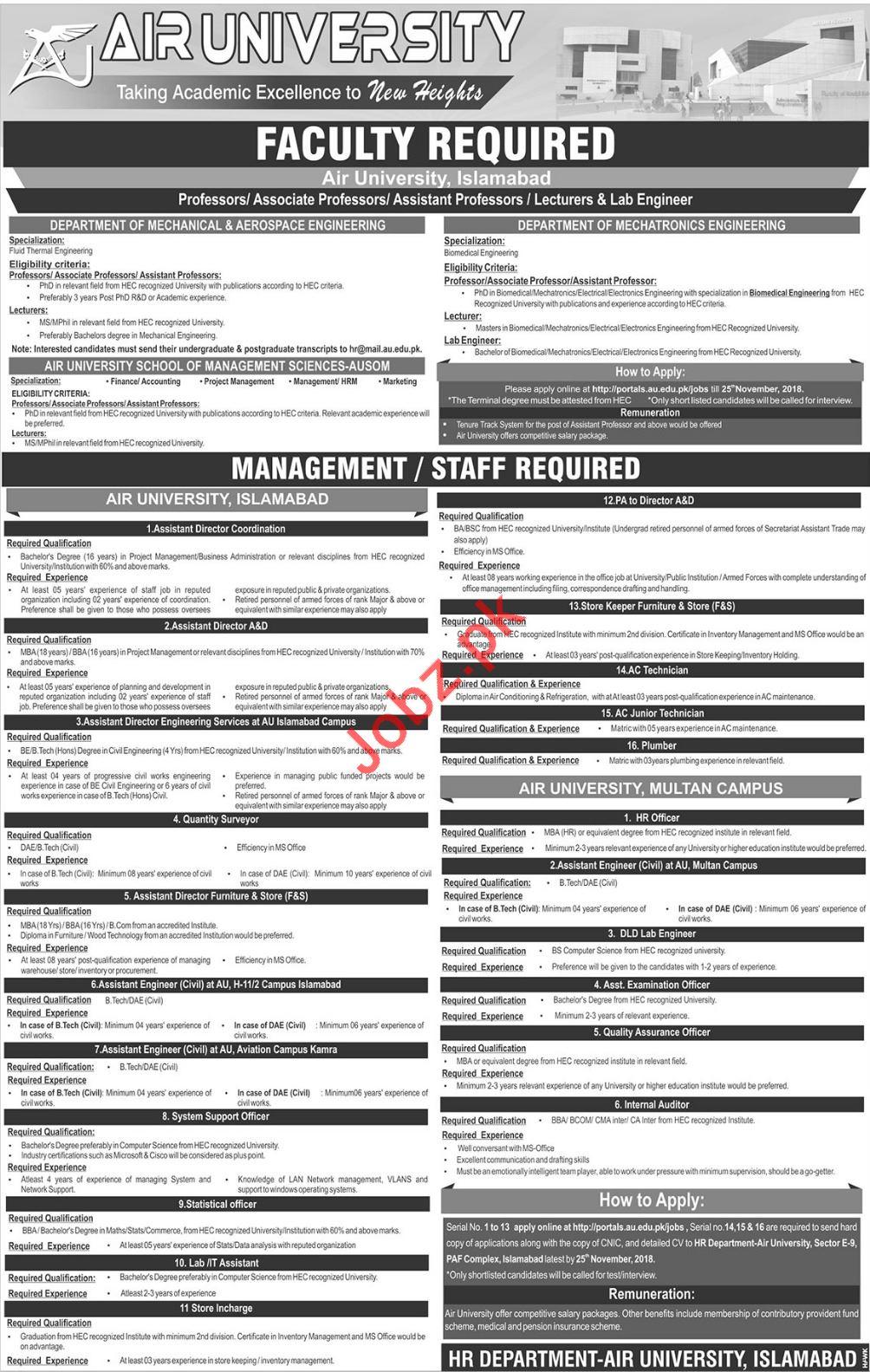 Air University Faculty Jobs 2018 in Multan & Islamabad