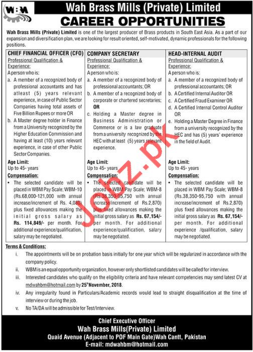 Wah Brass Mills Pvt Limited Jobs 2018 in Wah Cantt
