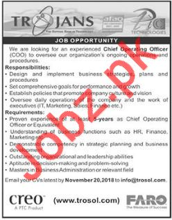 Chief Operating Officer COO Job 2018 in Islamabad