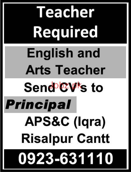 Army Public School and College APS Risalpur Cant Jobs