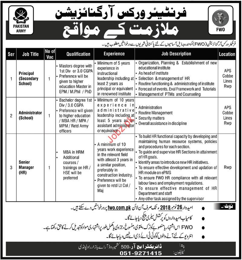Principal Jobs 2018 in Frontier Works Organization FWO