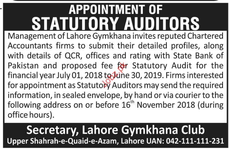 Statutory Auditor Jobs in Lahore Gymkhana