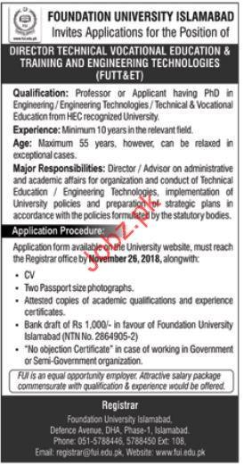 Direcrtor Technical Josb in Foundation University Islamabad