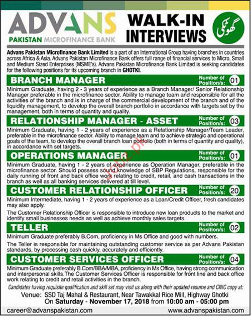 Advans Pakistan Microfinance Bank Branch Manager Jobs 2018