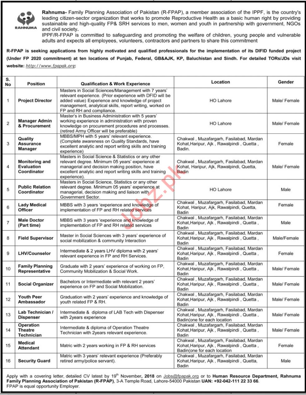 Rahnuma Family Planning Association Project Director Jobs