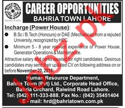 Bahria Town Lahore Jobs for Incharge Power House