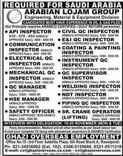 API Inspector, Civil Inspectors Job Opportunity