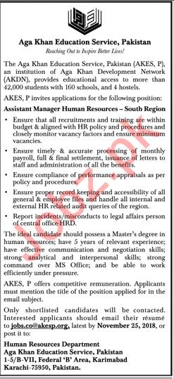 AKES Assistant Manager Human Resource Jobs