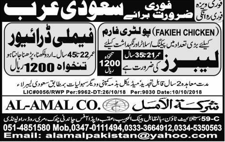 Family Drivers, Labors Job Opportunity