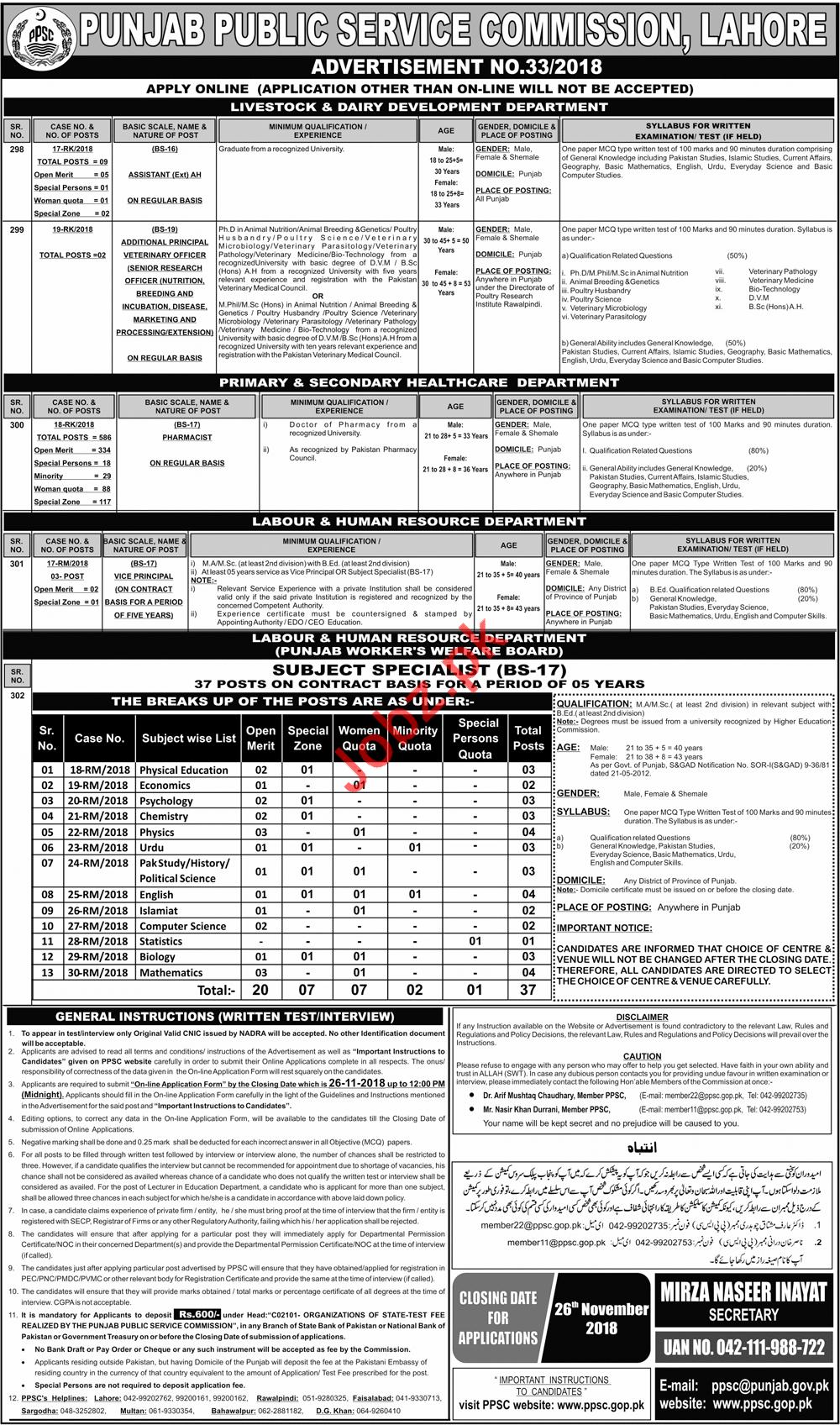 PPSC Punjab Public Service Commission Lahore Jobs 2018