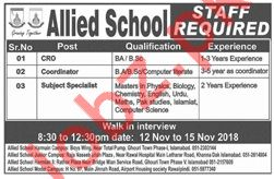 Allied Schools Rawalpindi Jobs 2018 for Teachers & CRO