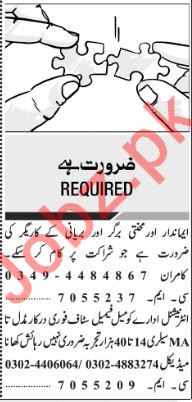 Jang Sunday Classified Ads 2018 for Multiple Staff