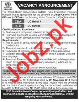 Union Council Polio Officers UCPOs Jobs 2018 in Islamabad