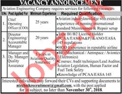 Chief Operating Officer, Director Engineering & Manager Jobs