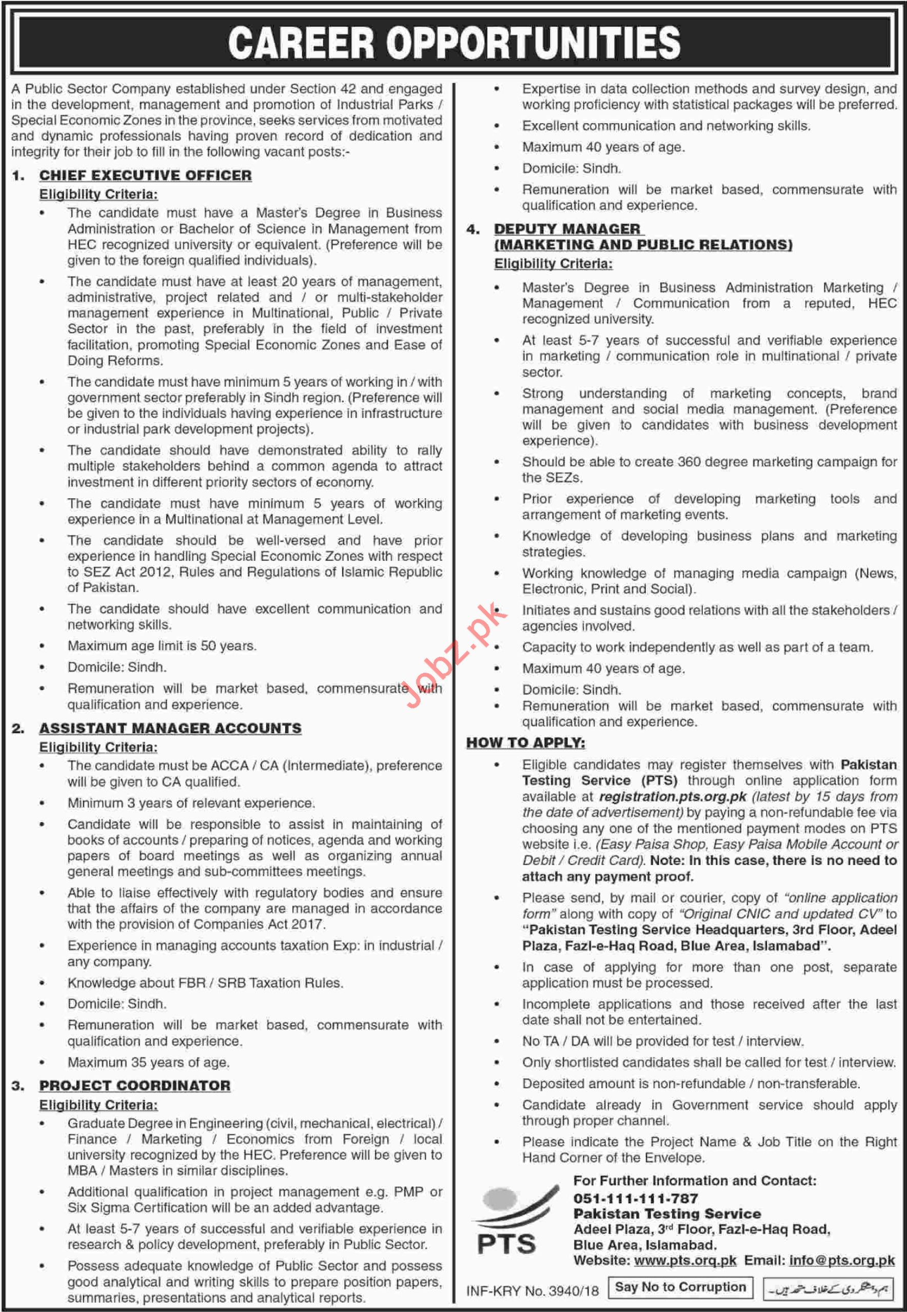 Public Sector Company Sindh Jobs 2018 for Managers
