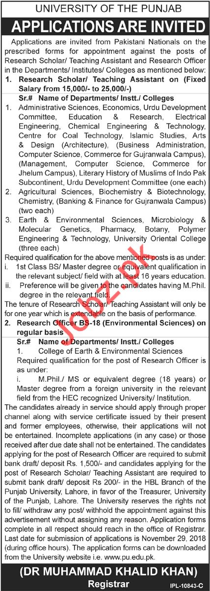 University of The Punjab Jobs 2018 in Lahore