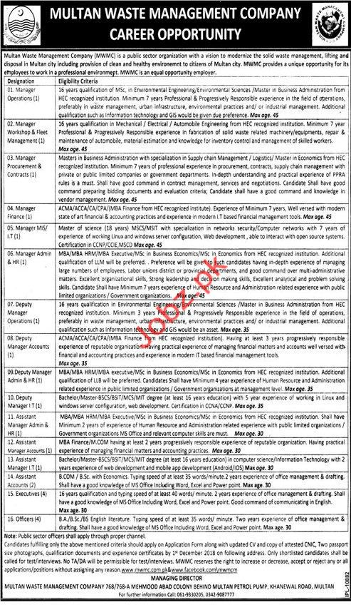 Multan Waste Management Company Mangement Jobs 2018