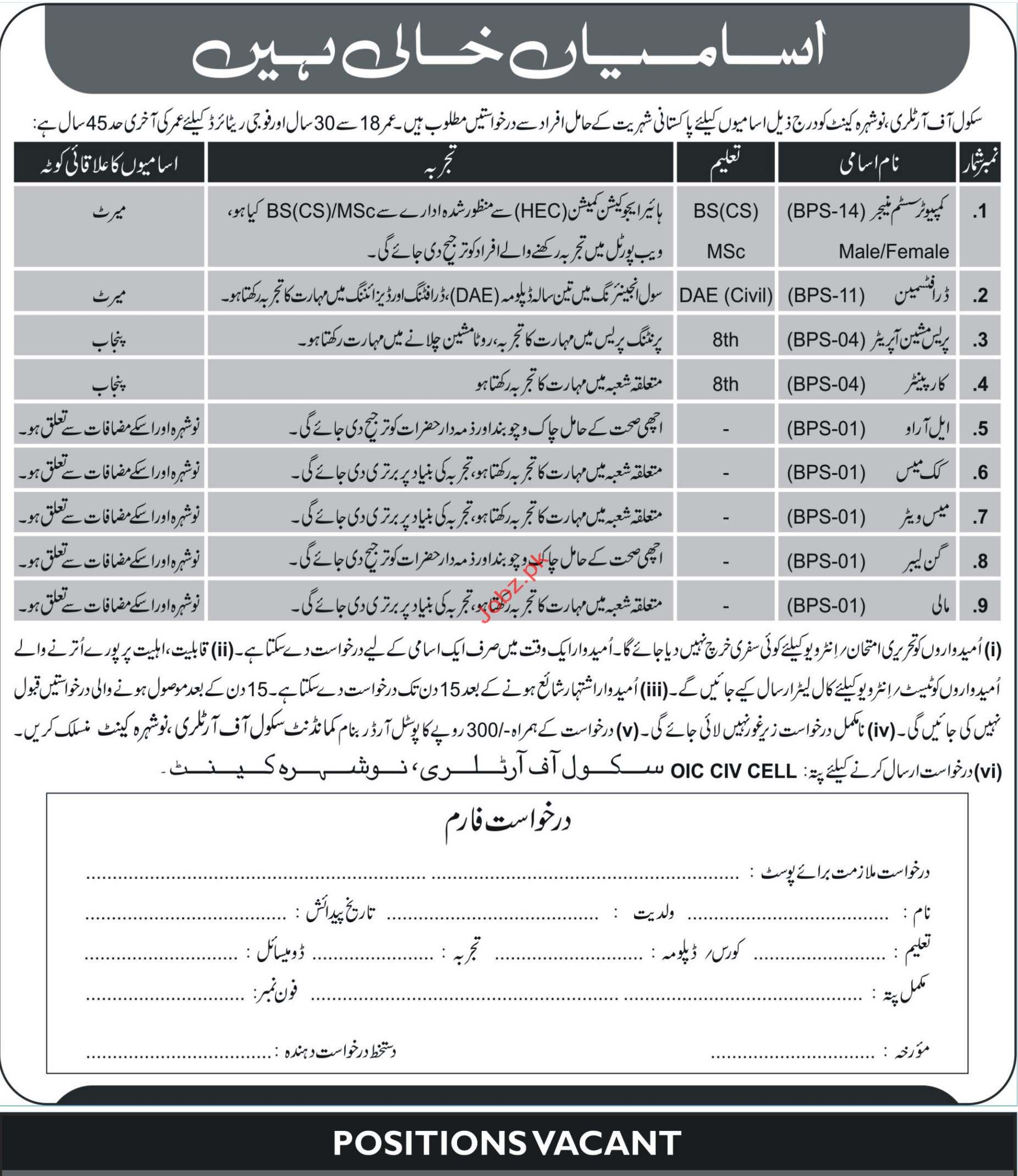 School of Artillery Computer System Manager Jobs 2018