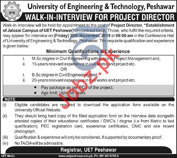 University of Engineering & Technology UET Walk In Interview