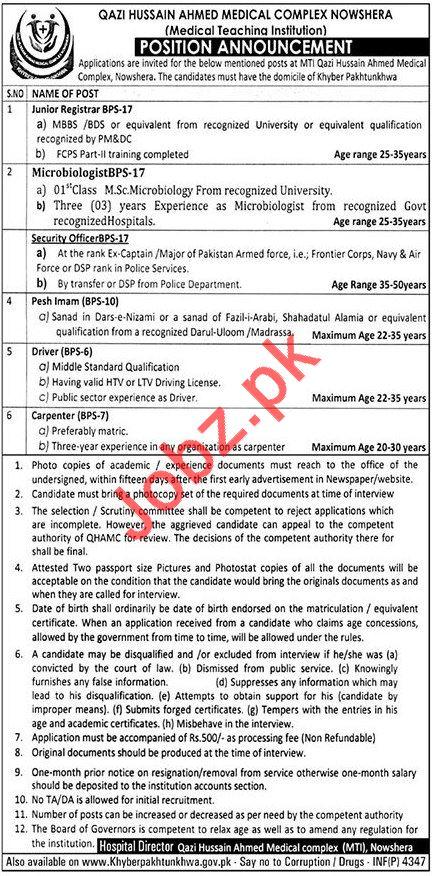 Medical Teaching Institution MTI Jobs 2018 in Nowshera KPK