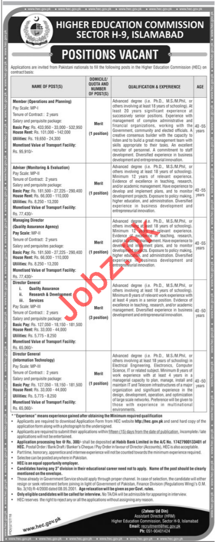 HEC Higher Education Commission Jobs 2018 For Islamabad