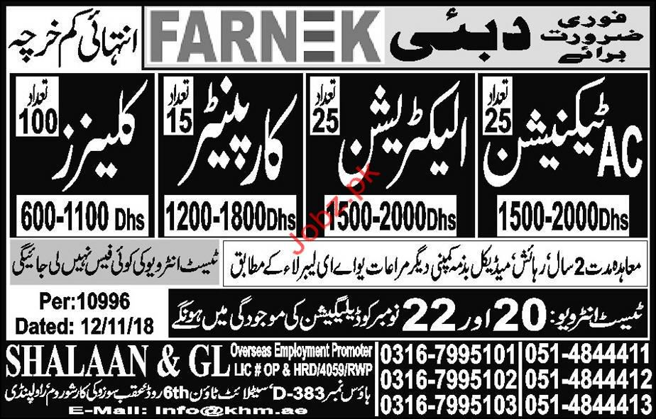 AC Technician, Electrician & Carpenter Jobs in Dubai