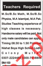 Teaching Jobs 2018 For Nishat High School in Multan