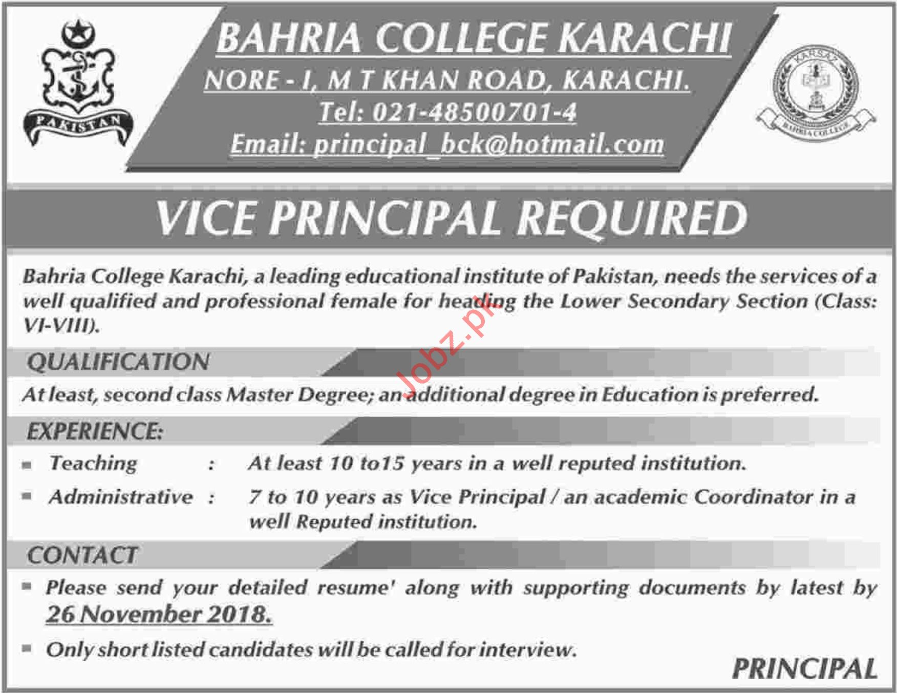 Bahria College Karachi Jobs 2018 for Vice Principal