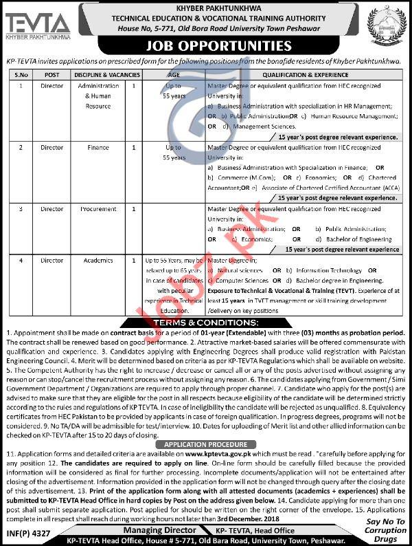 KP TEVTA Peshawar Jobs 2018 for Directors