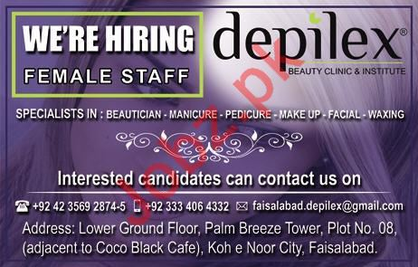 Depilex Beauty Clinic Faisalabad Jobs 2018 for Beauticians
