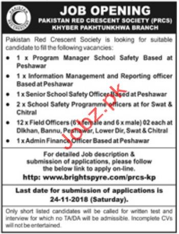 Pakistan Red Crescent Society PRCS Program Manager Jobs 2018