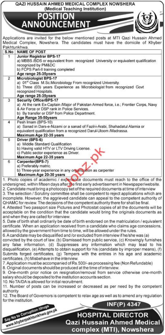 Qazi Hussain Ahmed Medical Complex Registrar Jobs 2018