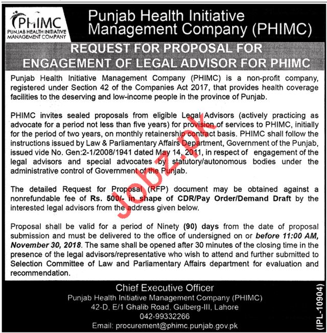 Punjab Health Initiative Management Company PHIMC Jobs 2018