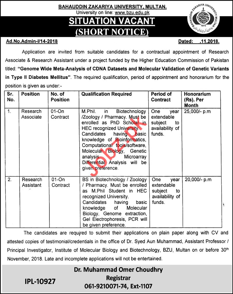 Bahauddin Zakariya University BZU Multan Research Jobs 2018