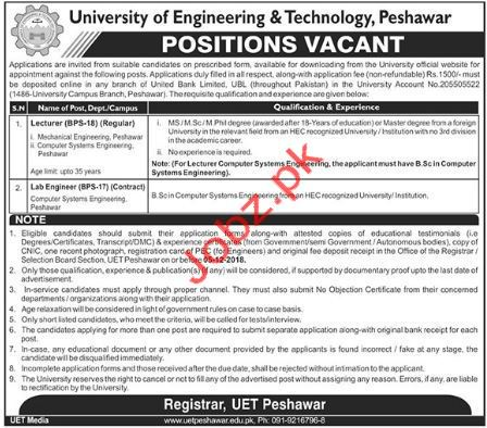 Lecturer Jobs in University of Engineering & Technology UET