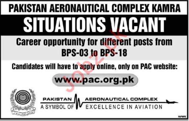 Pakistan Aeronautical Complex PAC Jobs BPS 3 to 18